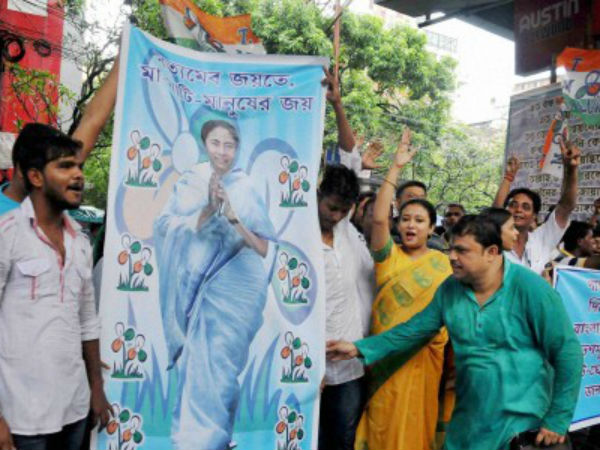 TMC supporters celebrate the party's thumping victory in Bengal