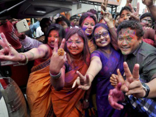 BJP workers celebrate victory in Assam