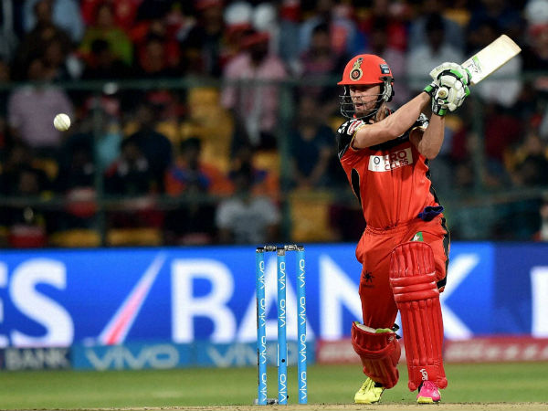 AB De Villiers plays a shot during the 1st qualifier IPL 2016 match against Gujarat Lions at Chinnaswamy Stadium in Bengaluru