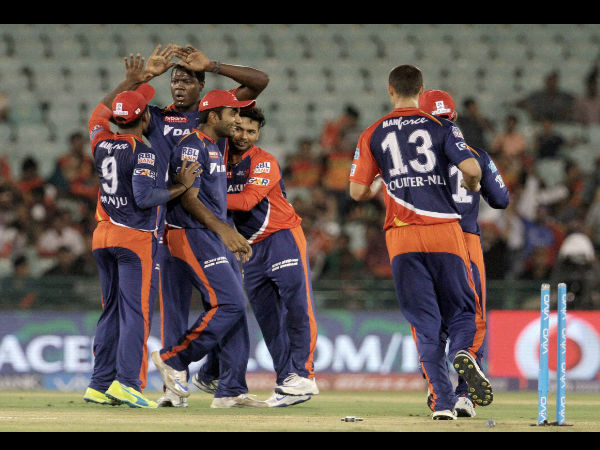 Delhi Daredevils players celebrates the wicket of Sunrisers Hyderabad player Shikhar Dhawan during an IPL 2016 match in Raipur on Friday.
