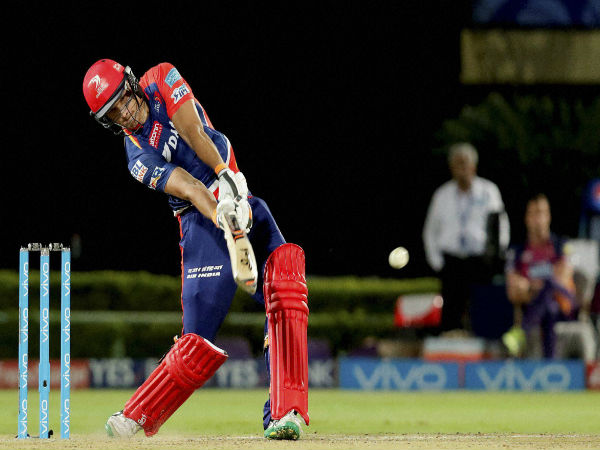 Christopher Morris of Delhi Daredevils plays a shot during a IPL 2016 match against Rising Pune Supergiants