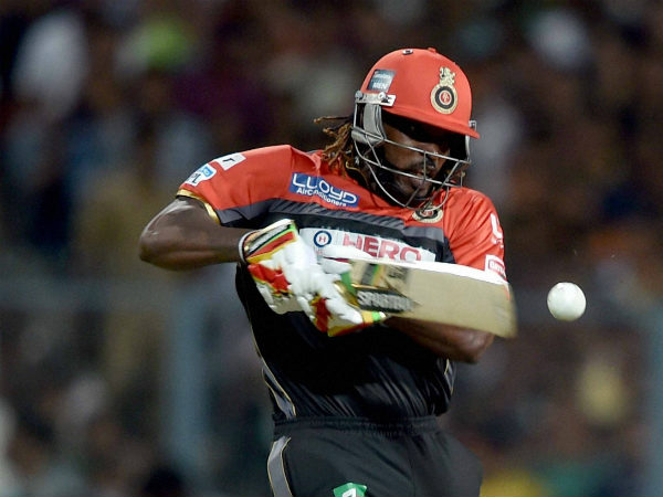Chris Gayle in action against KKR at Eden Gardens on Monday night (May 16)