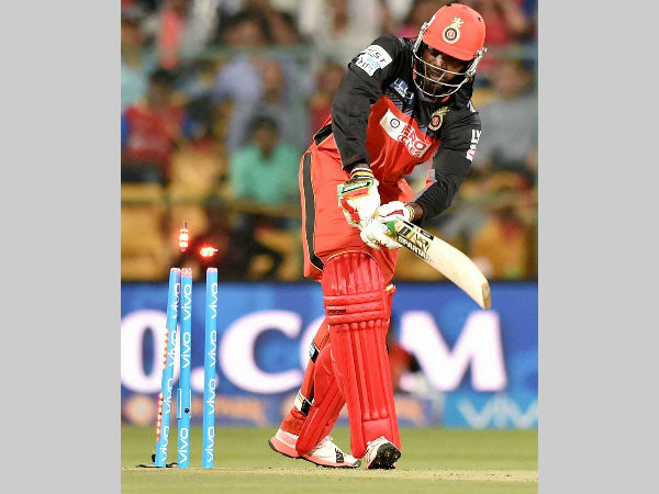 Chris Gayle is bowled for 1 by Bhuvneshwar Kumar of Sunrisers Hyderabad on April 12 in Bengaluru