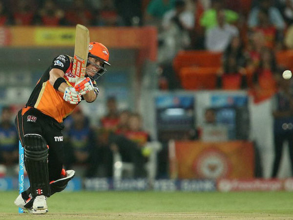 SRH captain David Warner in action during IPL 2016