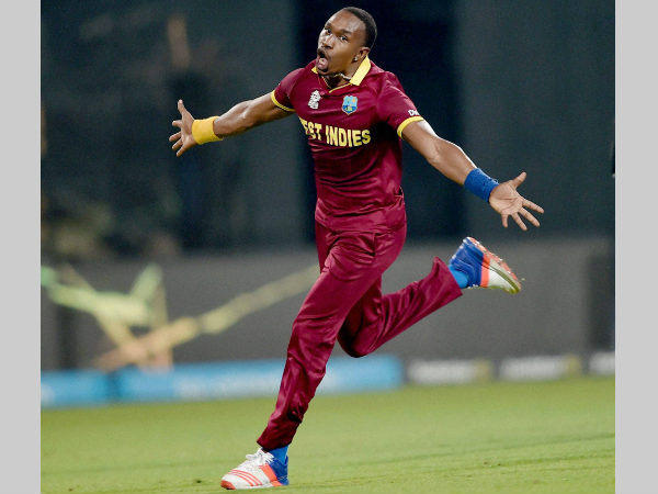 A file picture of Dwayne Bravo celebrating a wicket in this year's World T20 which West Indies won