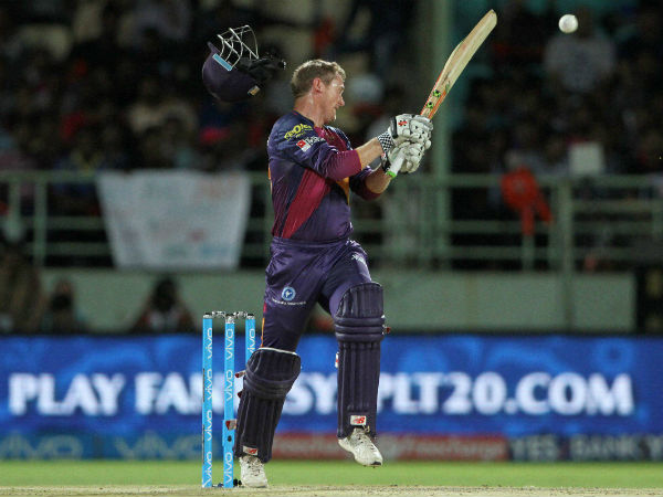 George Bailey of Rising Pune Supergiants plays a shot during a IPL 2016 match against Delhi Daredevils.