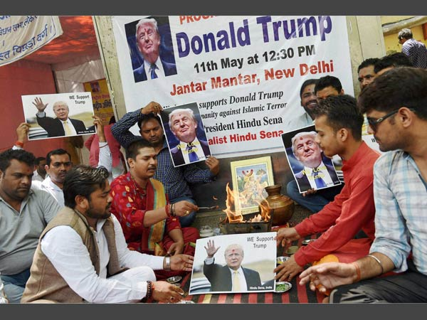 Hindu Sena activists organise a havan in support of Republican US Presidential hopeful Donald Trump at Jantar Mantar, in New Delhi.