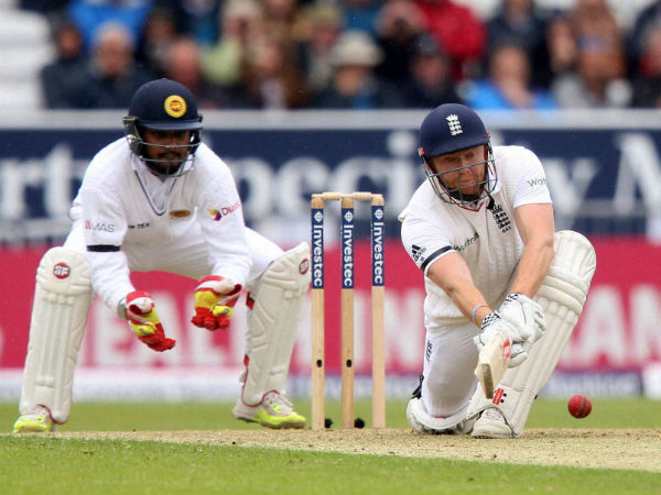 England's Jonny Bairstow plays a shot against Sri Lanka during day one of the first cricket Test at Headingley, Leeds England.