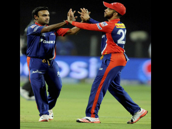 JP Duminy and Amit Mishra of Daredevils