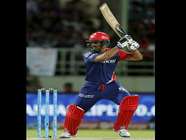 Karun Nair of Delhi Daredevils plays a shot during an IPL 2016 match against Sunrisers Hyderabad in Raipur on Friday.