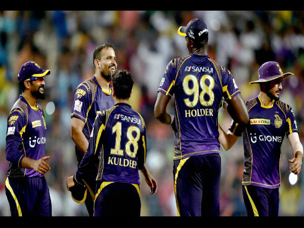 KKR Cricketers greets each other after they won IPL match against SRH in Kolkata on Sunday.