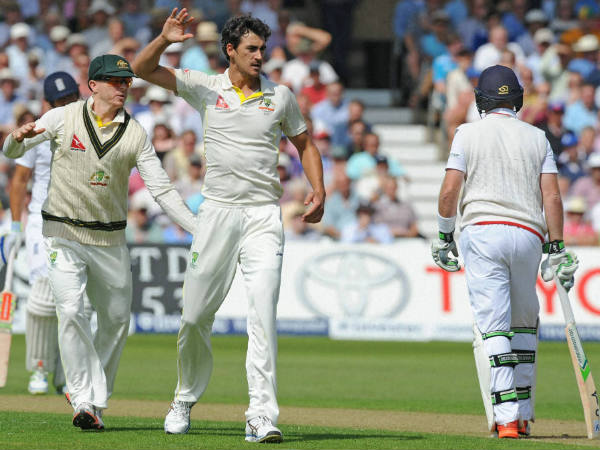 A file picture of Mitchell Starc (2nd right) celebrating a wicket during a Test