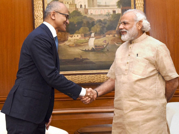 Prime Minister Narendra Modi shakes hands with Microsoft CEO Satya Nadella in a meeting in New Delhi on Monday.