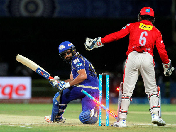 Mumbai Indians captain Rohit Sharma gets clean bowled during an IPL 2016 match against Kings XI Punjab in Visakhapatnam on Friday.