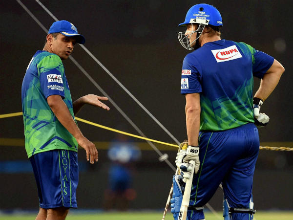 Dravid (left) and Watson at Rajasthan Royals during IPL 2015