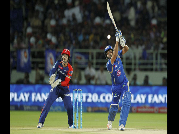 Mumbai Indians captain Rohit Sharma plays a shot during IPL 2016 match against Delhi Daredevils in Visakhapatnam on on Sunday.
