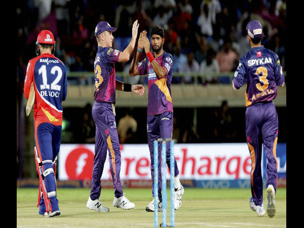Rising Pune Supergiants players celebrates a wicket of Delhi Daredevils during match a IPL 2016