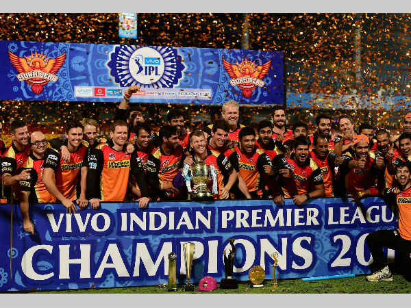 SRH players celebrate after winning IPL 2016