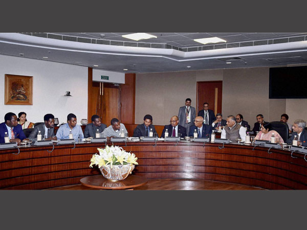 External Affairs Minister Sushma Swaraj, MoS VK Singh and Foreign Secretary S Jaishankar during a meeting with a group of African students, in New Delhi on Tuesday.