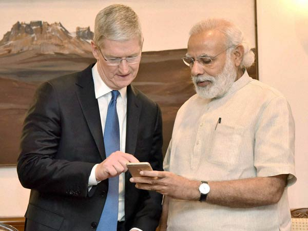 Prime Minister Narendra Modi with CEO, Apple, Tim Cook during a meeting in New Delhi.