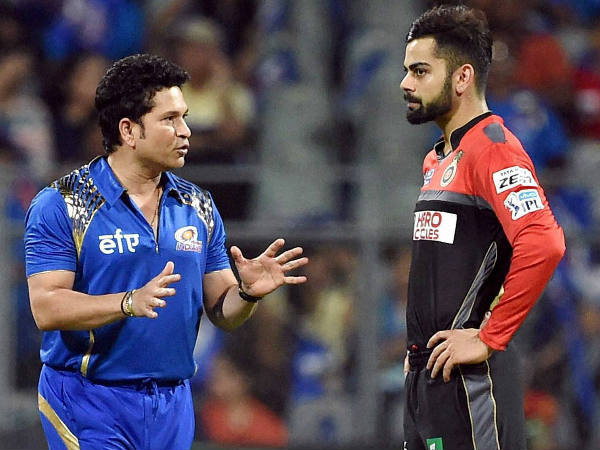 Tendulkar (left) and Kohli are photographed during this year's IPL