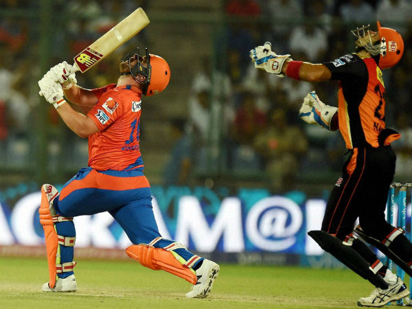 Gujarat Lions batsman Aaron Finch plays a shot during an IPL T20 match against Sunrisers Hyderabad at Feroz Shah Kotla in New Delhi on Friday.