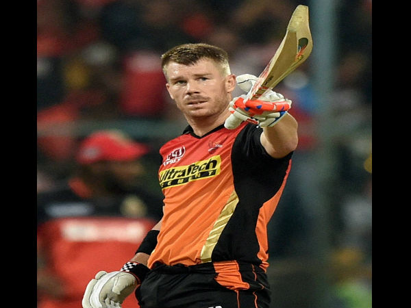 Sunrisers Hyderabad Skipper David Warner celebrates his fifty runs during the IPL 2016 Final match between Royal Challengers Bangalore and Sunrisers Hyderabad at Chinnaswamy Stadium in Bengaluru on Sunday.