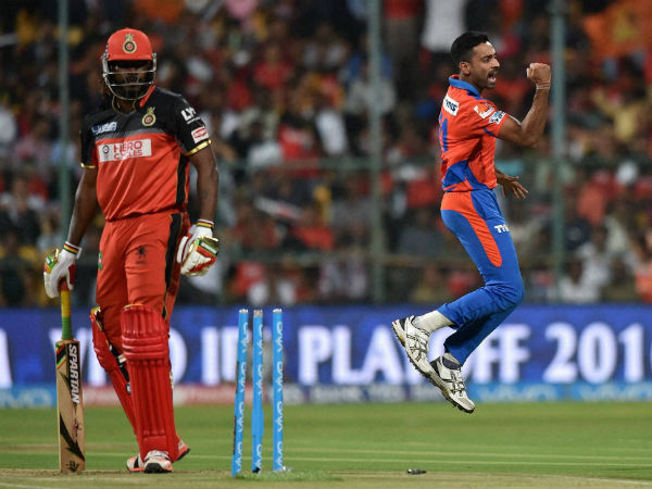 Gujarat Lions bowler Dhawal Kulkarni celebrates the wicket of Chris Gayle during the 1st qualifier IPL 2016