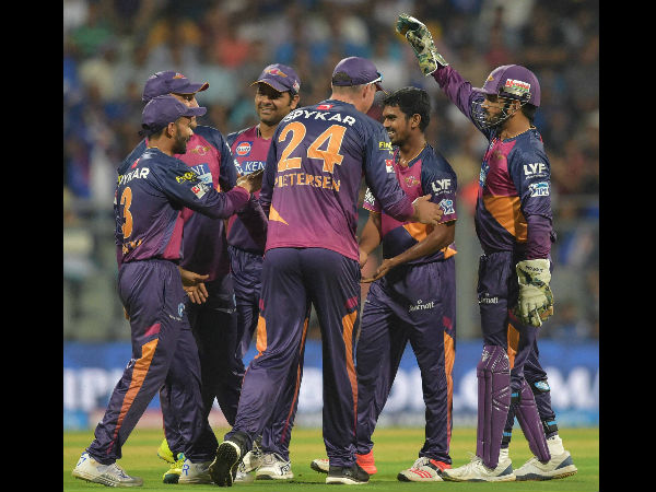 File photo: RPS players celebrate a wicket during IPL 2016