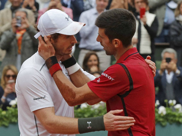 Serbia's Novak Djokovic, right, is congratulated by Britain's Andy Murray after winning the final of the French Open tennis tournament