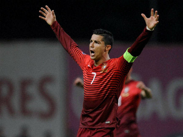 Portugal's Cristiano Ronaldo reacts to the final whistle during the Euro 2016 qualifying group I soccer match between Portugal and Denmark.