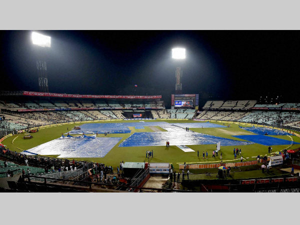 A file picture of Eden Gardens covered due to rain