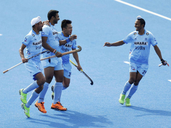 Indian players celebrate a goal against Germany in Champions Trophy on June 10, 2016