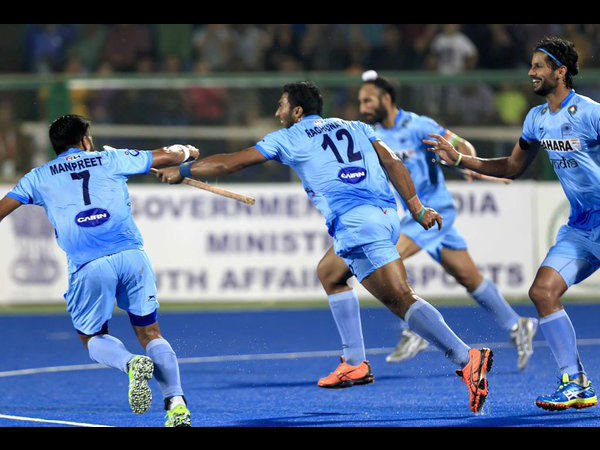 A file picture of Indian players celebrating a goal