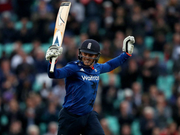 England's Jason Roy celebrates reaching his century during the One Day International against Sri Lanka at the Oval in London, on June 29, 2016.