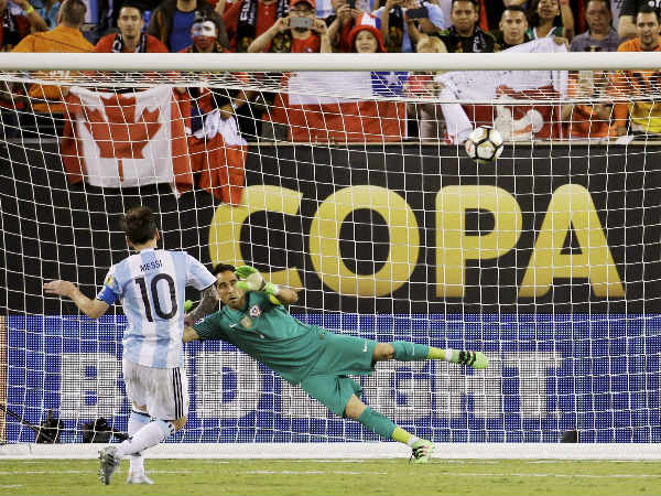 Lionel Messi misses his penalty during the Copa America final against Chile