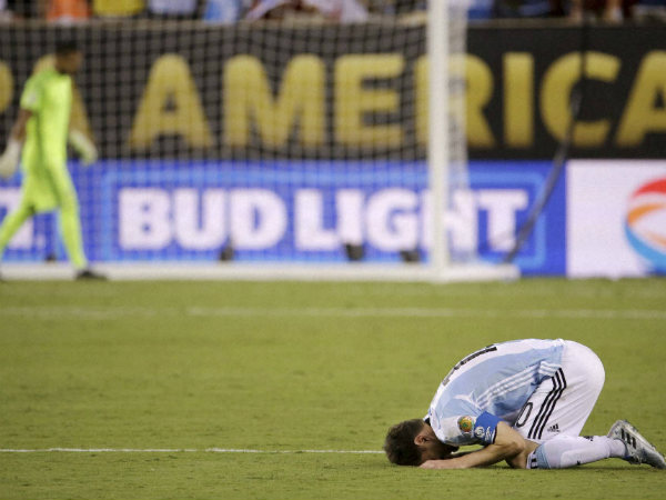 Lionel Messi reacts after losing Copa America final
