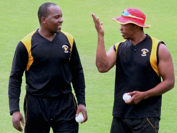 File photo: Makhaya Ntini (right)