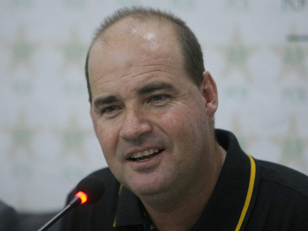 Mickey Arthur talks to reporters in Lahore on Thursday