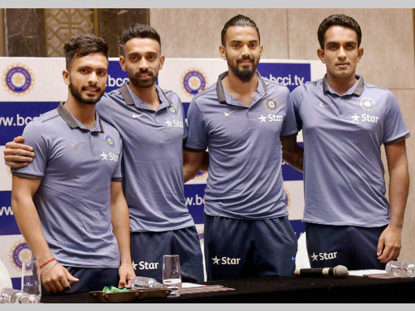 From left: Mandeep Singh, Dhawal Kulkarni, KL Rahul and Jayant Yadav pose for pictures at a press conference in Mumbai on Tuesday (June 7) before leaving for Zimbabwe