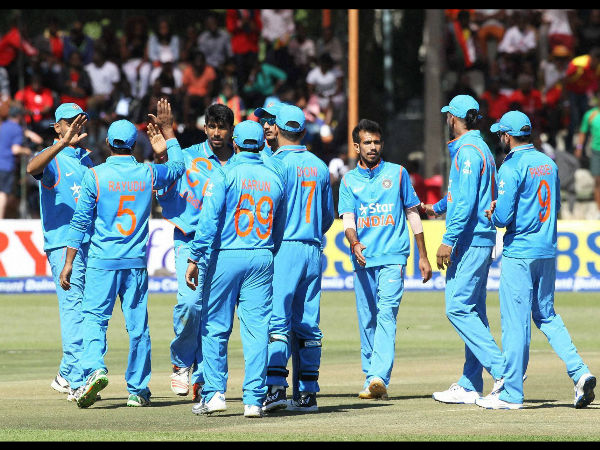 Indian players celebrate a wicket during the 1st ODI in Harare