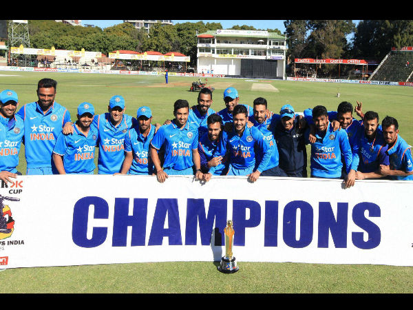 Indian players pose for pictures after winning the ODI series 3-0 in Zimbabwe