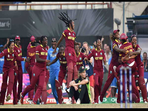 West Indies Mens cricketers dance with womens cricketers after West Indies womens team wins ICC T20 World cup final in Kolkata