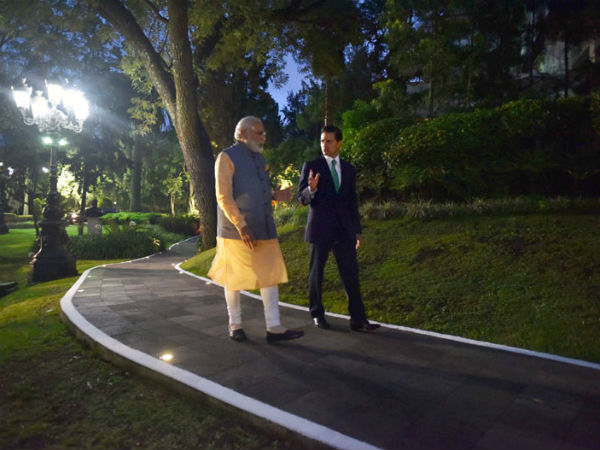 PM Modi, President Enrique take a walk  at the official residence of Los Pinos