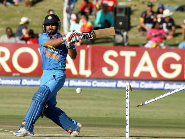 Indian batsman Kedar Jadhav is bowled out during the T20 International cricket match against Zimbabwe at Harare Sports Club, on June, 18, 2016.