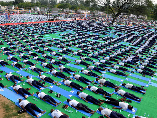 AIIMS doctors perform Yoga