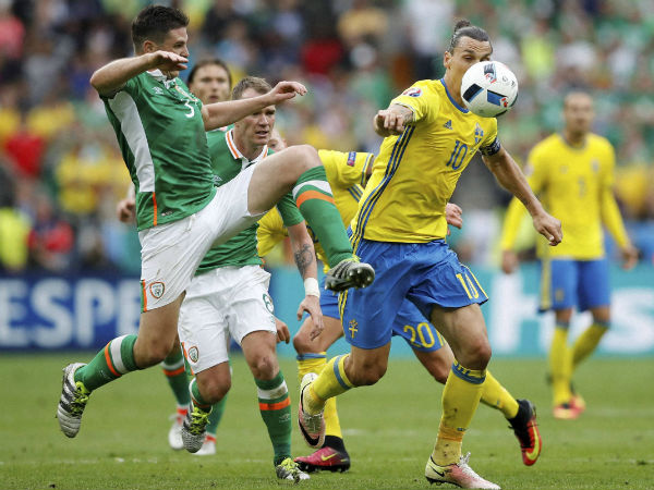 Zlatan Ibrahimovic (left) in action for Sweden in the Euro 2016
