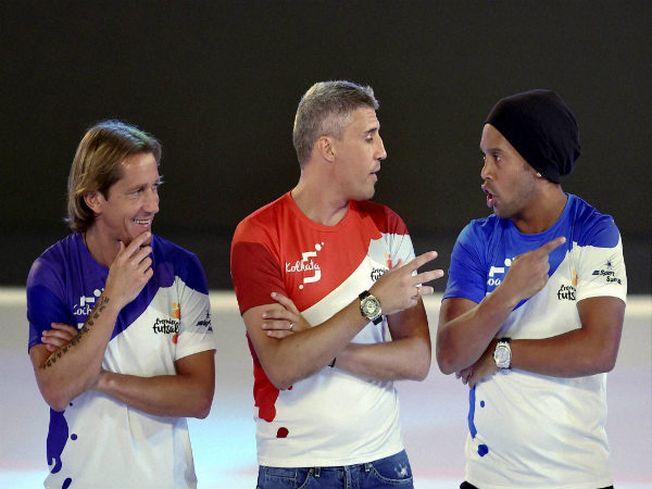 (From left) Michel Salgado, Hernand Crespo, Ronaldinho