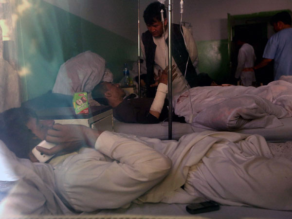 Injured undergo treatment in a hospital