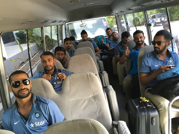 Cricketers in Team bus